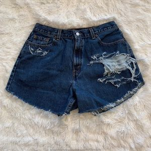 Vintage Levi's High Waisted Distressed Jean Shorts